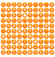 100 conference icons set orange vector image vector image
