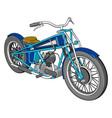 3d a blue vintage chopper motorcycle white vector image vector image