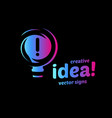 abstract idea symbol lightbulb eureka sign vector image vector image