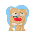 bears lovers hold hearts in hands male and female vector image