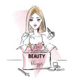 beauty blogger vector image