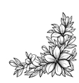 black and white branch with flowers vector image vector image
