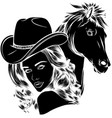 black silhouette girl dressed as a cowboy vector image vector image