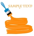Blue paint brush with orange paint and a place for vector image vector image