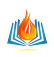 book on fire flame icon logo vector image