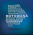 Botswana map made with name of cities vector image
