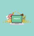 business profit with text on laptop display with vector image vector image