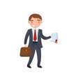businessman holding a document in his hands car vector image