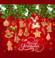 christmas garland with cookie greeting card design vector image vector image