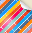 Colorful Brick Background with Bent Paper Corner vector image