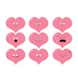 cute heart shape emoji set funny kawaii cartoon vector image vector image