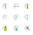 Dental clinic icons set flat style