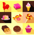 different sweet candy icons set flat style vector image vector image