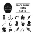 fishing set icons in black style big collection vector image vector image