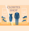 flat design restaurant clothes shop facade icon vector image vector image