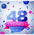 Forty eight years anniversary celebration on grey vector image vector image
