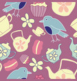 garden tea party seamless pattern design vector image