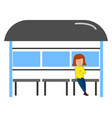 girl waiting for a bus on white background vector image