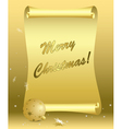 golden card - merry christmas vector image