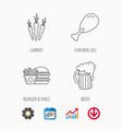 hamburger beer and chicken leg icons vector image