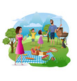 happy family picnic and hike on nature vector image