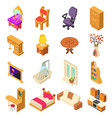 home interior icons set isometric style vector image vector image
