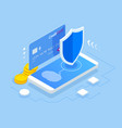 isometric online payment protection system vector image
