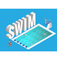 isometric public sports swimming pool open vector image vector image