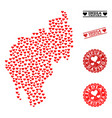 love mosaic map of tripura state and grunge stamps vector image vector image