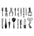 makeup tools set doodle a collection female vector image