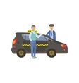 Man Passenger And Driver Standing Next To Black vector image vector image