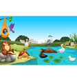 Many animals living by the pond vector image vector image