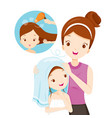 mother rub daughter hair with towel vector image