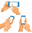 Pairs of naked male hands with phones vector image
