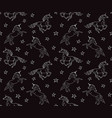 pattern white hand drawn unicorn on black vector image vector image