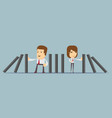 people stopping the domino effect with falling vector image vector image
