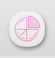 pie chart app icon circle divided into parts vector image