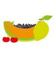 pineapple papaya cherry and carambola fresh nature vector image