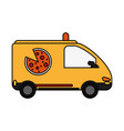 pizza car flat vector image vector image