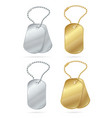 realistic 3d detailed shiny tags or medallions set vector image