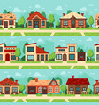 seamless suburban houses panoramic cityscape vector image