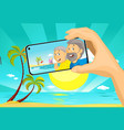 senior couple make selfie photo with mobil phone f vector image