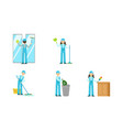 set cleaners in overalls at work vector image
