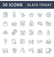 set line icons black friday vector image