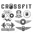 Set of fitness emblems vector image