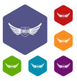shield wing icons hexahedron vector image vector image