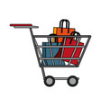 shopping bags inside cart vector image vector image