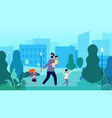 single father lonely man walking with kids in vector image vector image