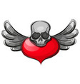 skull shape from red hearts vector image vector image