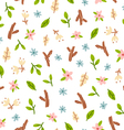 Small flowers leaves wood things vector image vector image